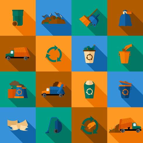 garbage icons set vecteur