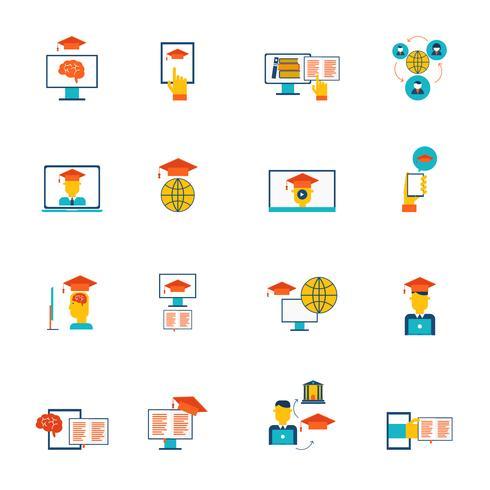 Ícones de educação on-line planas