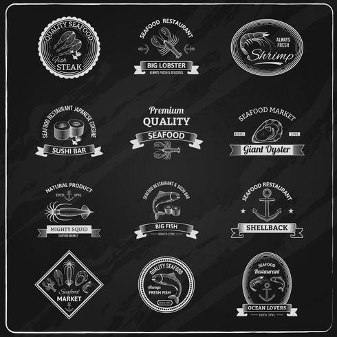 pizarra de insignias de mariscos vintage
