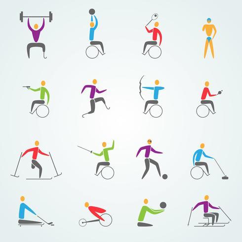 Conjunto de ícones de esportes com deficiência vetor