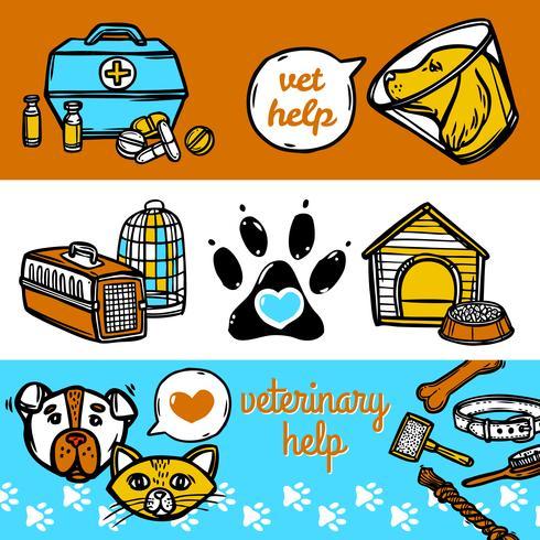 Conjunto de Banners veterinarios vector