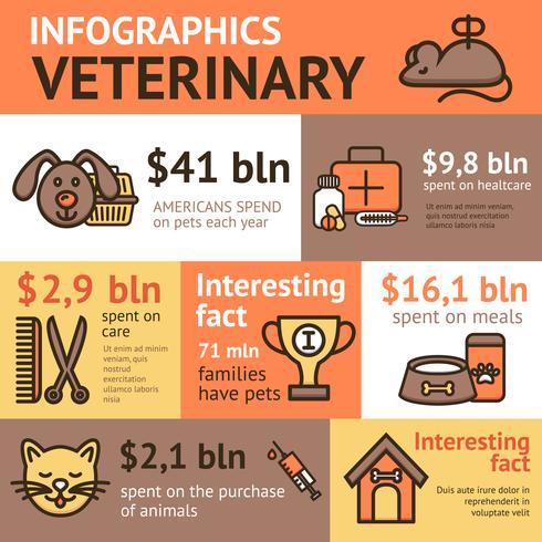 Conjunto de infografía veterinaria vector