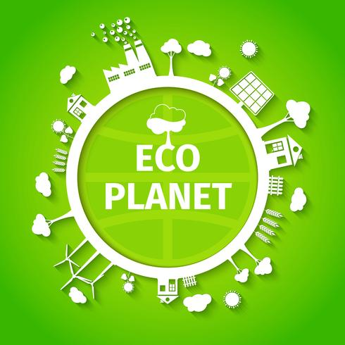 Eco planet background poster vector