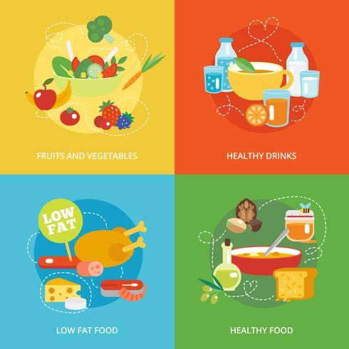 Conjunto de comer saudável plana