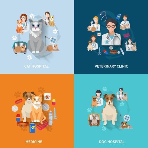 Veterinary Flat Set vector