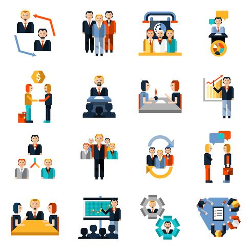 Meeting Icons Set vector