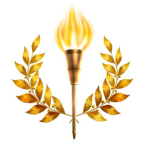 Torch And Laurel Wreath vector