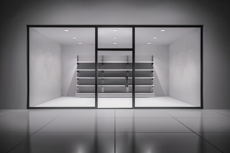 Store interiör med hyllor