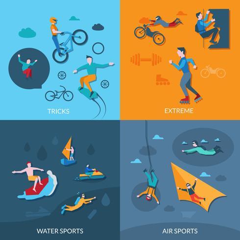 Set de sports extrêmes vecteur
