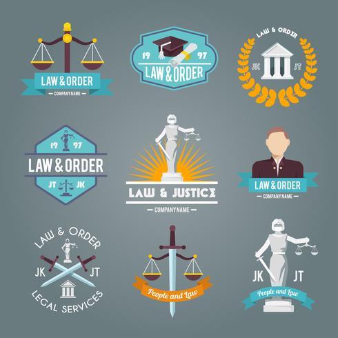 Set di icone di etichette di legge