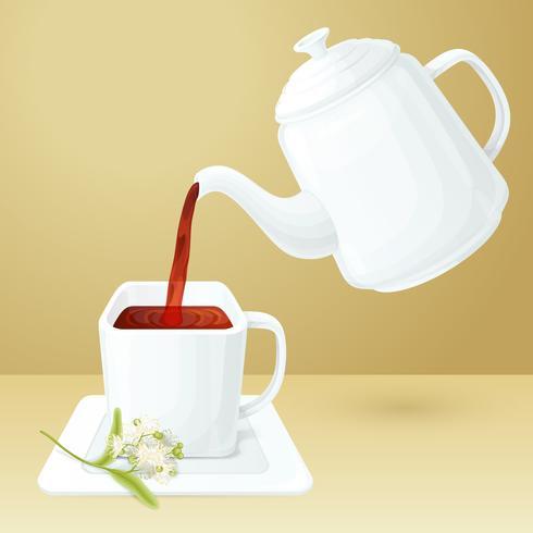 Xícara de chá e pote vetor