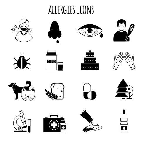 Iconos de alergias negro vector