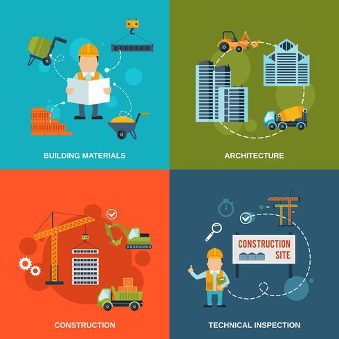Iconos planos de construcción
