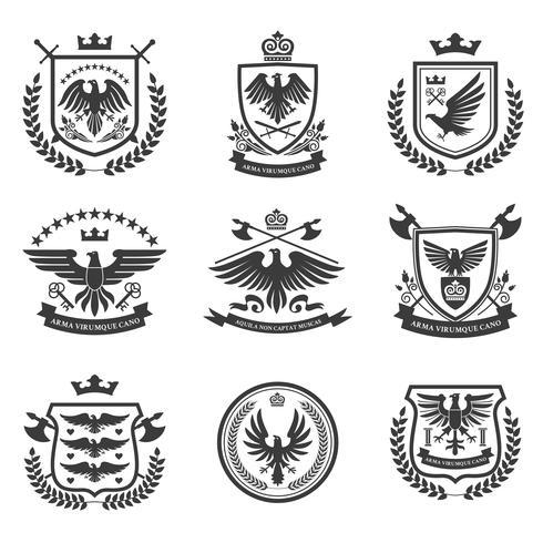 Eagle emblems icon set black