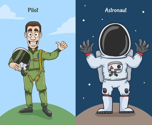 Astronauta y personajes piloto vector