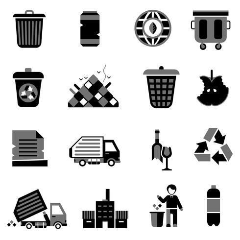 Icone di immondizia nere vettore