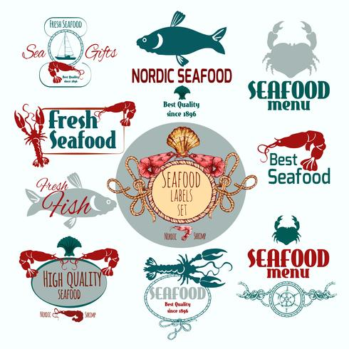skaldjur etikett uppsättning