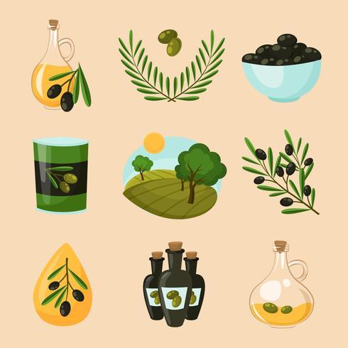 oliv ikoner uppsättning