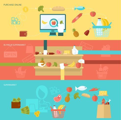 Ensemble de bannière de supermarché