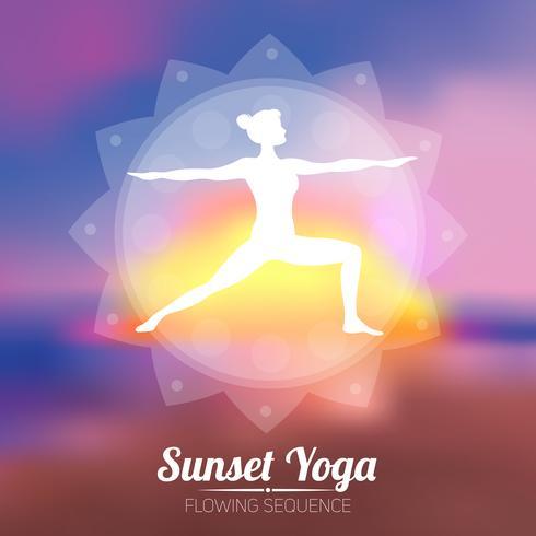 poster di yoga al tramonto vettore