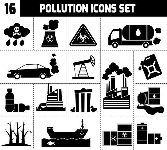 Poluição ícones preto