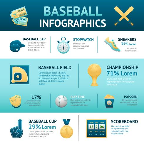 Conjunto de infográficos de beisebol
