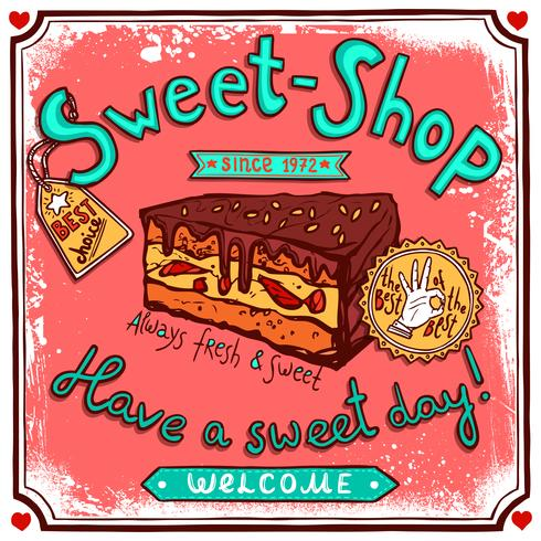 Sweetshop vintage candy poster vector