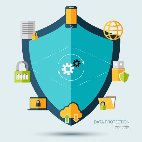 Concepto de protección de datos vector