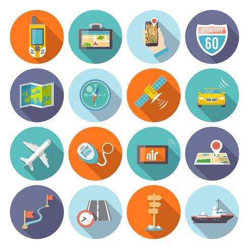Iconos de navegación plana vector