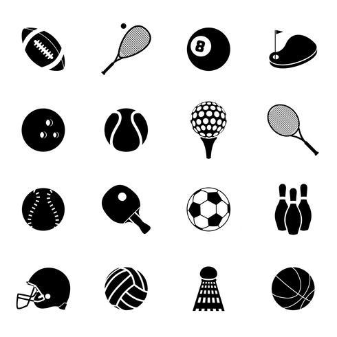 Ícones do esporte conjunto preto vetor