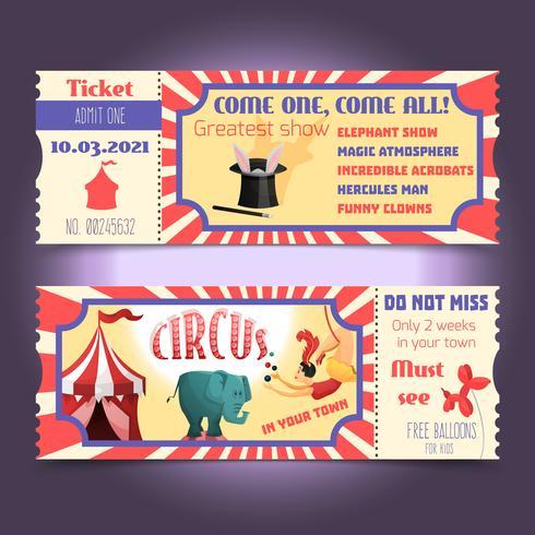 Bilhetes retro de circo
