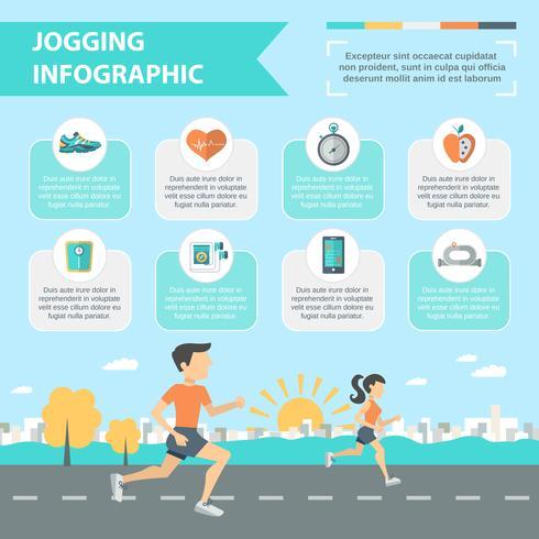 Jogging infografía conjunto vector