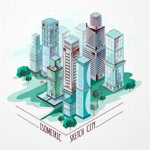 Isometrische Skizze Stadt farbig