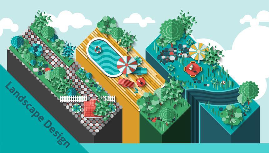 Concepto de diseño de paisaje