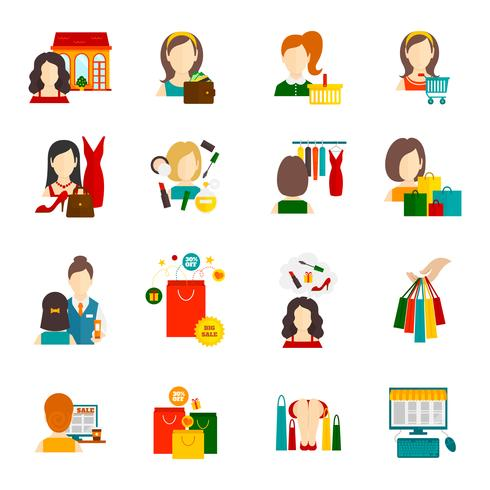 Woman Shopping Icon Flat vector