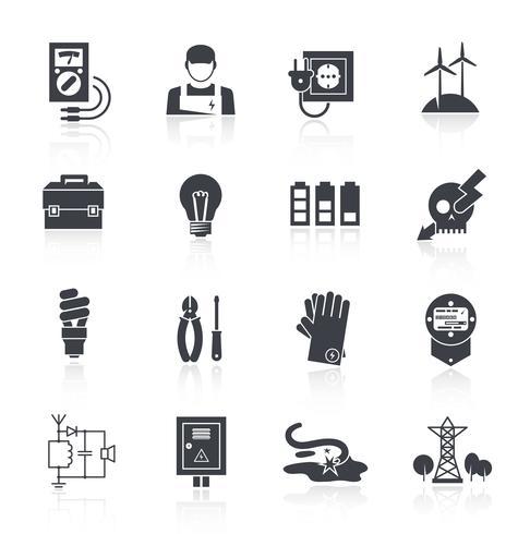 Icono de electricidad negro vector