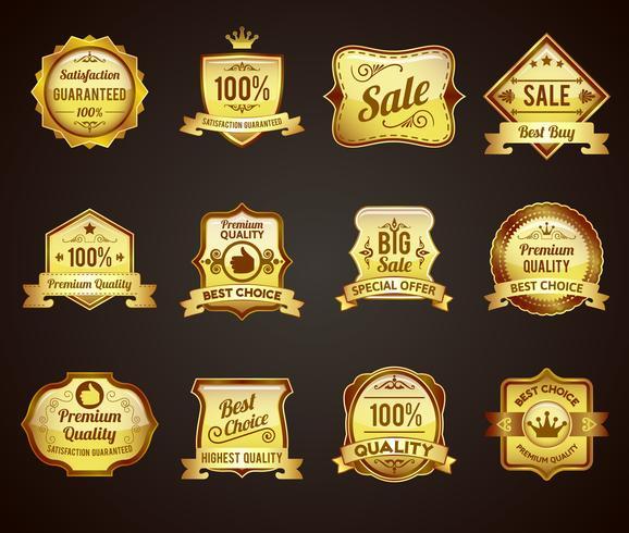 Colección de iconos de etiquetas de ventas de oro