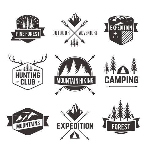 Tourism emblems labels set