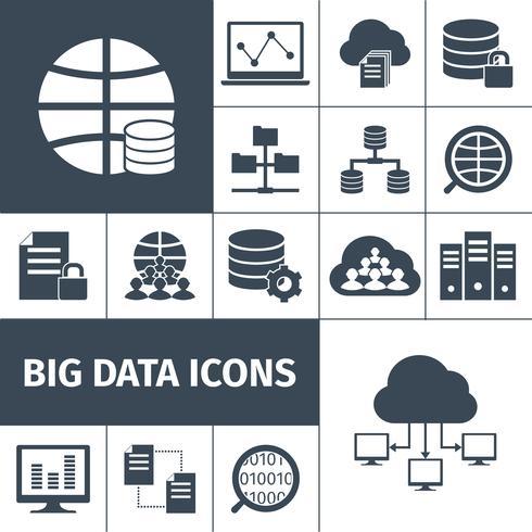 Icônes de données volumineuses noires