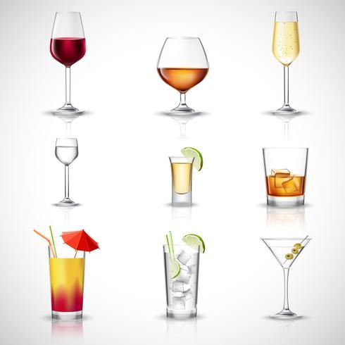 Conjunto realista de álcool vetor