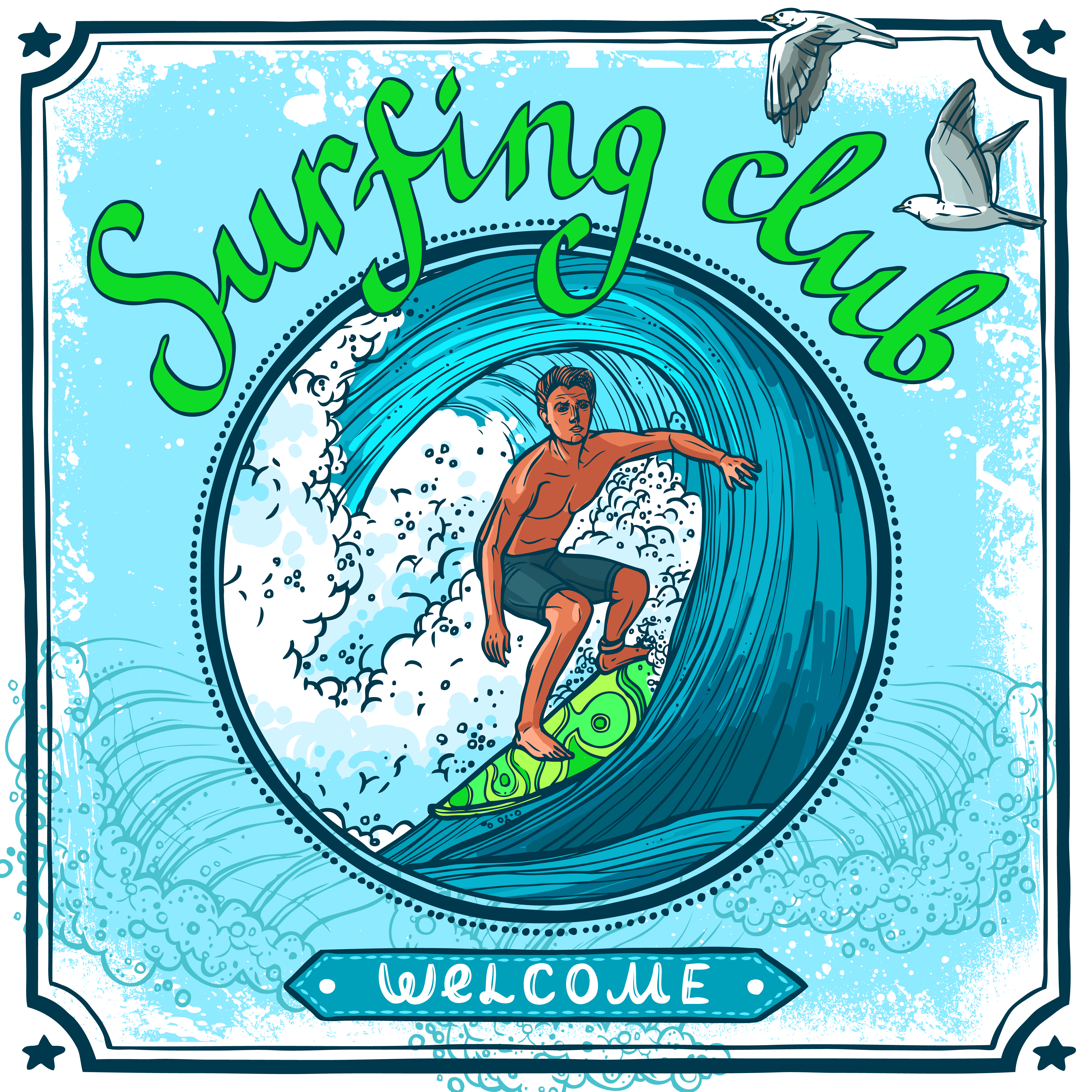 Surfing poster - Download Free Vectors, Clipart Graphics