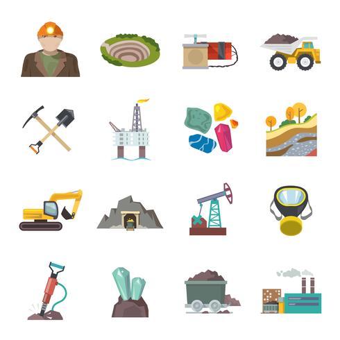 Iconos de minería plana
