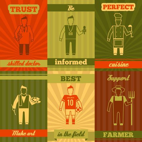 Affiche de composition de personnages de profession