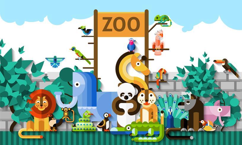 Ilustración de fondo de zoológico