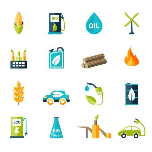 Bio brandstof pictogrammen instellen vector