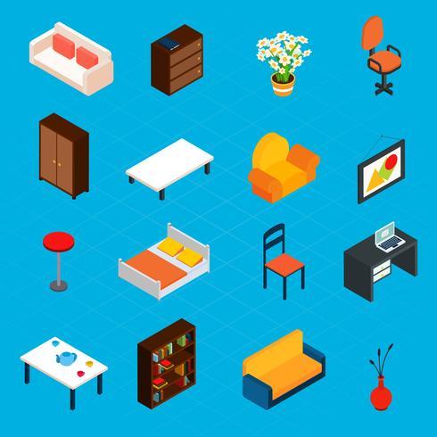 Iconos isométricos interiores