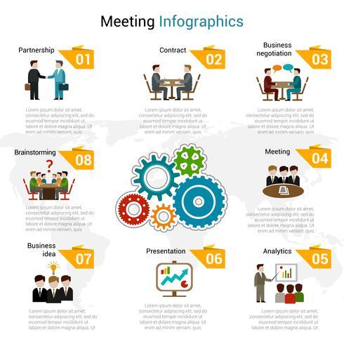 Conjunto de infografías de reunión vector