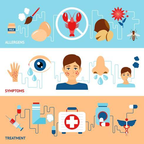 Conjunto de banners de alergia