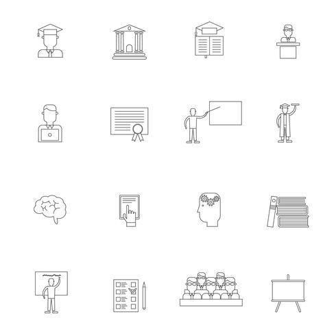 Conjunto de contorno de ícone de ensino superior