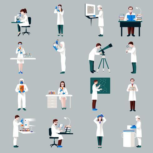 Conjunto de personajes de científicos vector